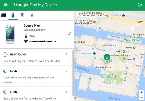 get into locked phone with android device manager