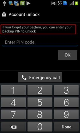 unlock samsung pattern with backup pin