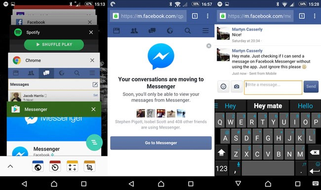how to send facebook messages without messenger