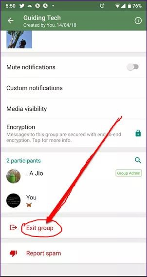 exist whatsapp group