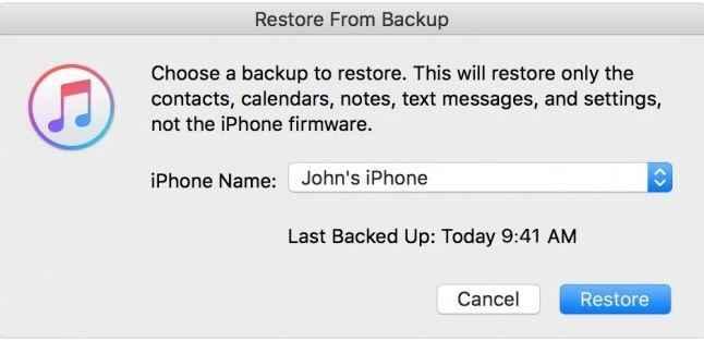 click restore