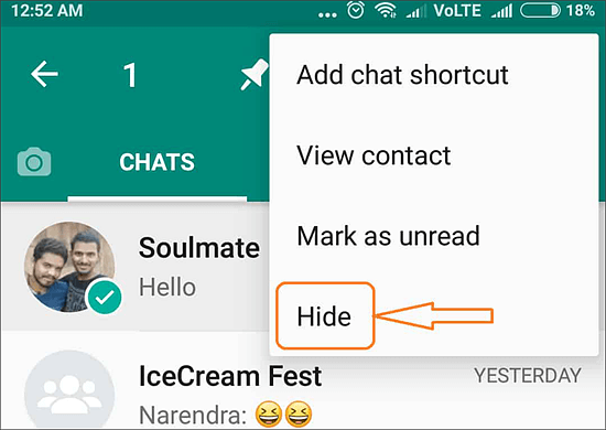 hide whatsapp messages