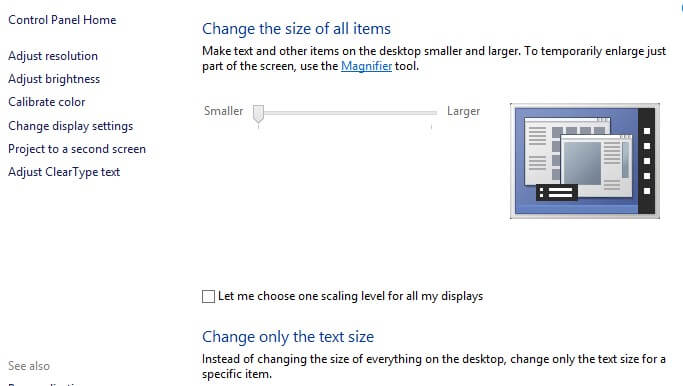 select change display setting option