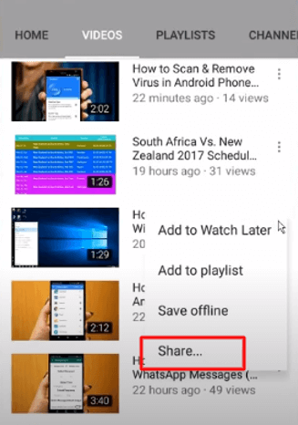 share youtube video