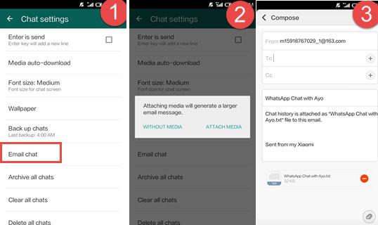 print whatsapp chat book via email