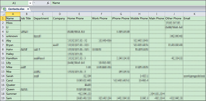 Export iPhone Contacts to xlx