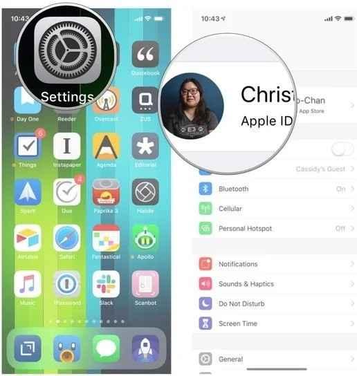 settings and apple id