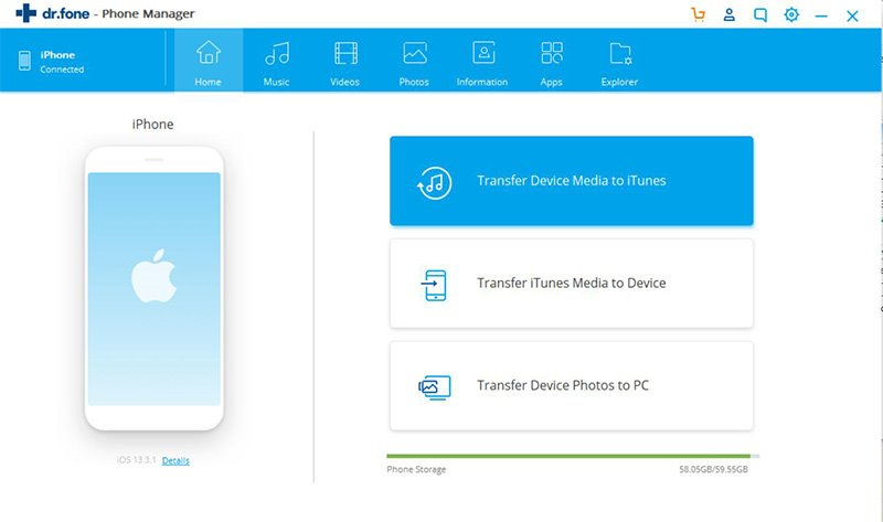 Choose Transfer Device Media to iTunes