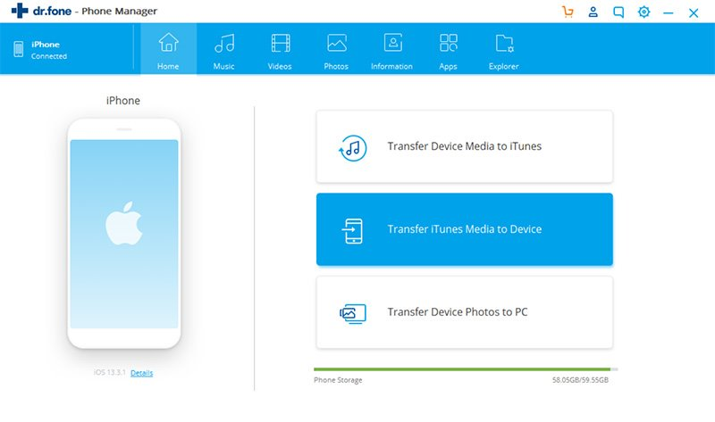 Choose Transfer iTunes Media to Device