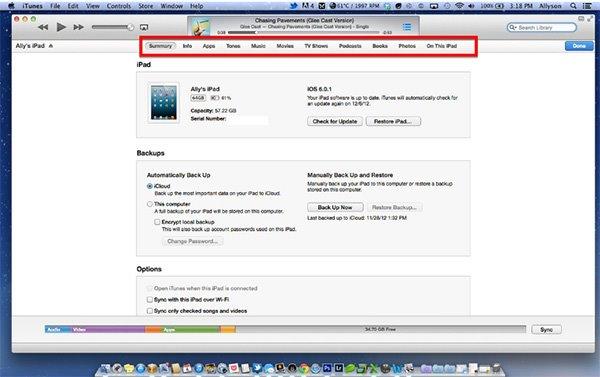 sync iPhone to iPad through iTunes