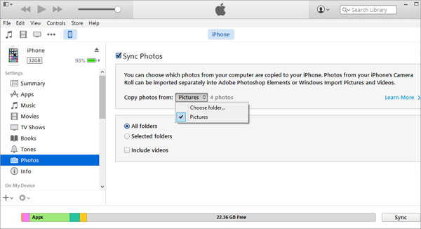 sync photos via itunes