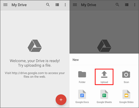 upload data to google drive