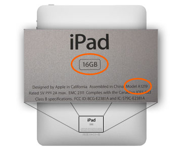 apple ipad model number