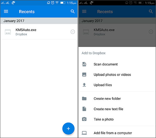 upload android files to dropbox for backup