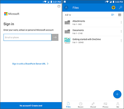 sign in to onedrive