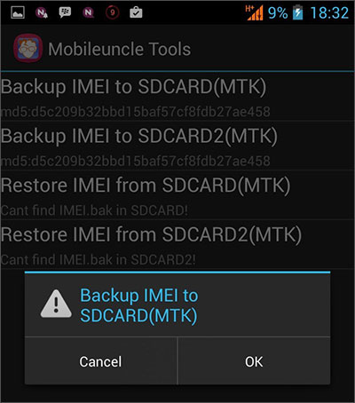 backup imei android phone