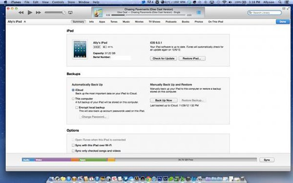 backing up ipad calendar