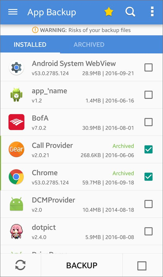 android backup apps brfore factory reset