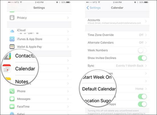 backup iphone calendar to icloud