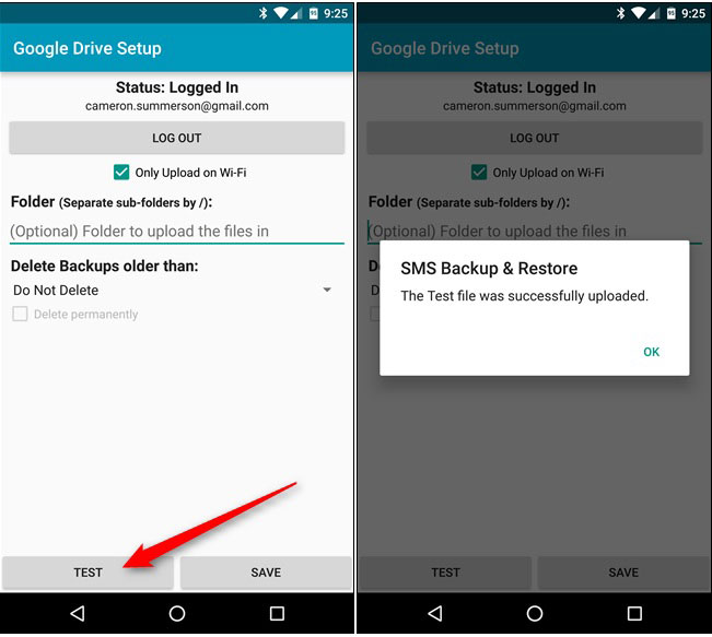 check backed up sms for android
