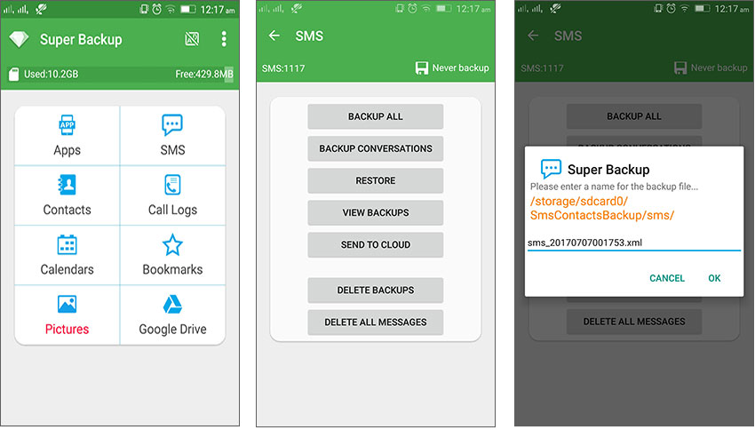 backup text messages to sd card