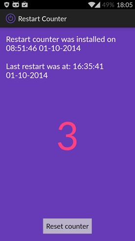 android restart app Restart Counter