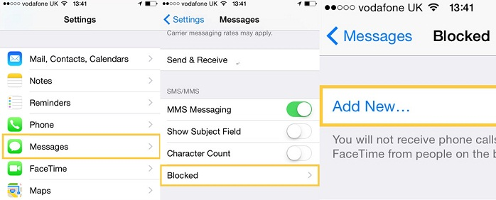 block text messages iphone