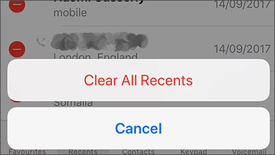 how to delete call history on iphone