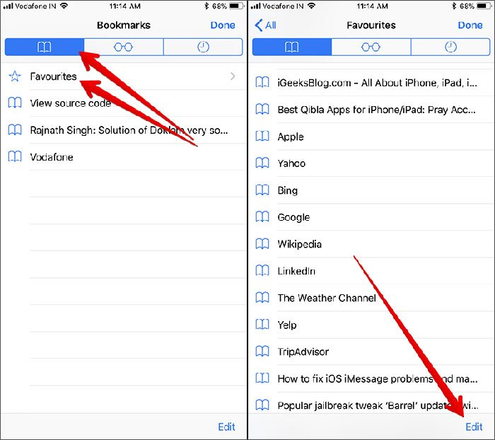 how to delete bookmark from iphone
