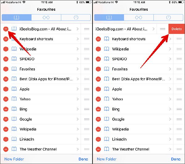 clean bookmark from iphone