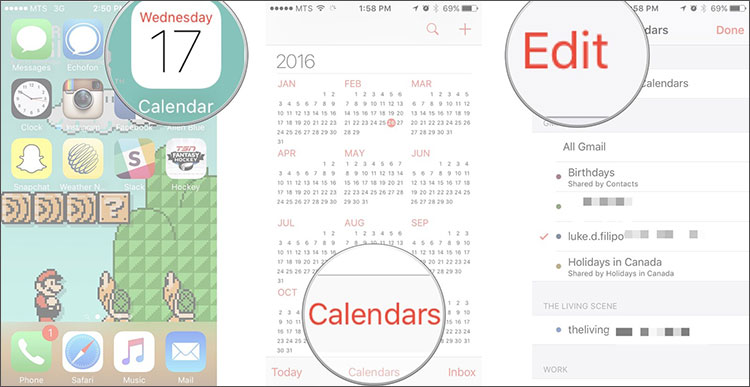delete calendar from iphone