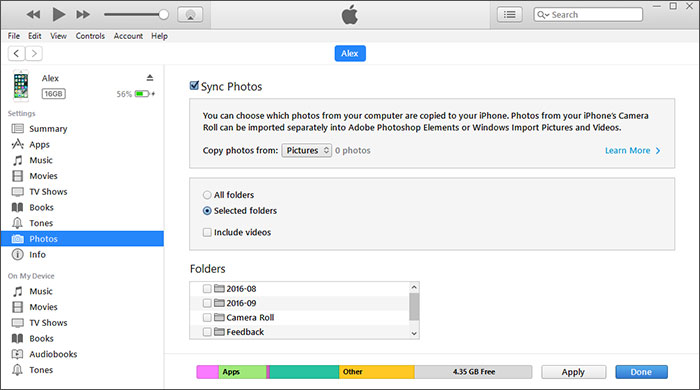 delete photos from itunes