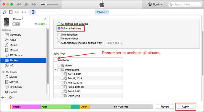how to delete photos from itunes
