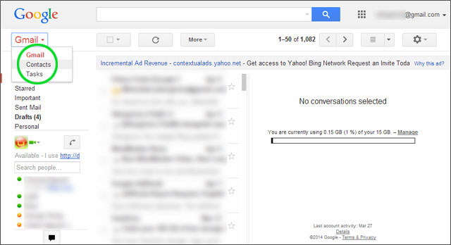 export contact to gmail