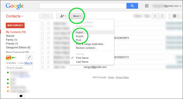 import contact to gmail