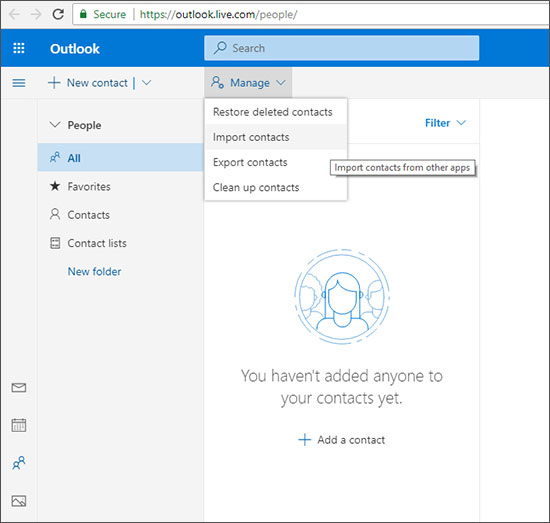 how to  export contact to hotmail