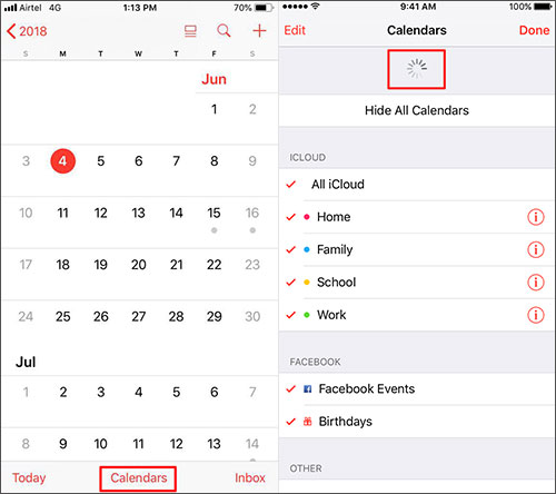 Refresh the Calendar to fix iphone calendar not syncing