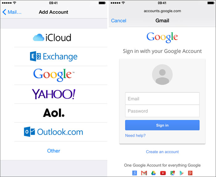 sign in to your google account on iphone