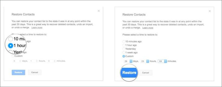 account recovery recover deleted contact