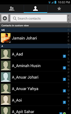 select contacts you wish to backup