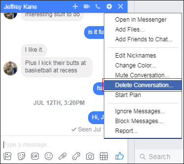 How do i delete all messages on fb messenger