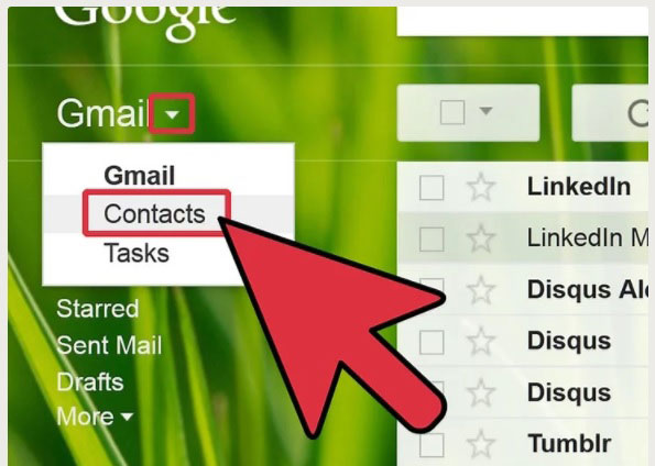 login to google account and select contacts