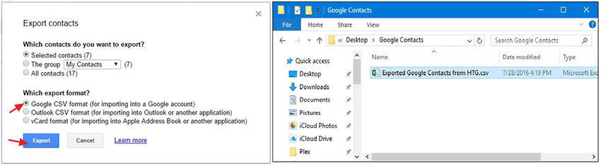 choose output formats and folder