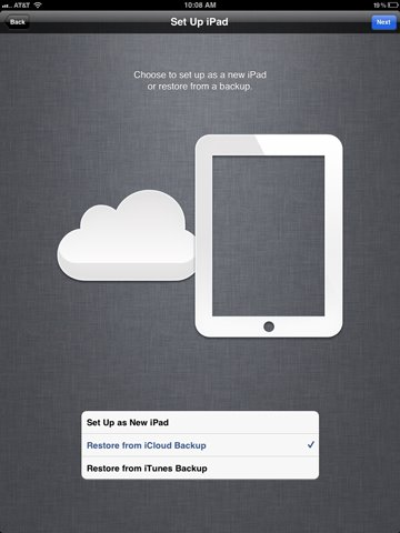 restore ipad from icloud backup data