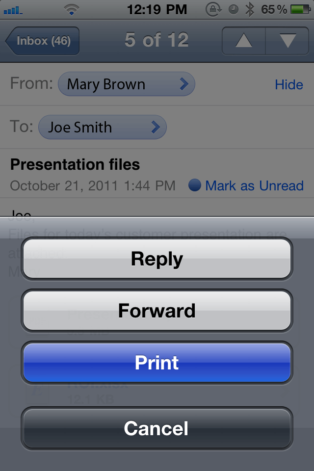 how to print email from iphone