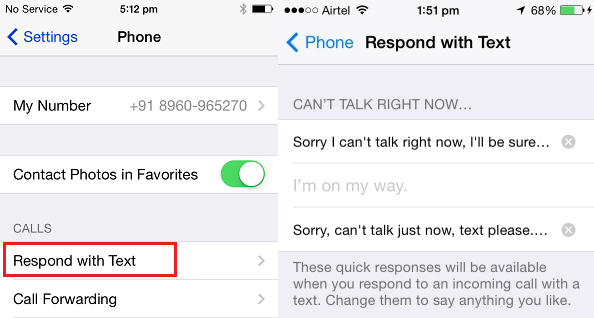 auto reply text message iphone