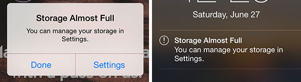 iphone storage almost full