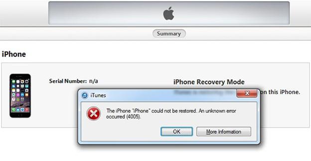 iphone error 4005