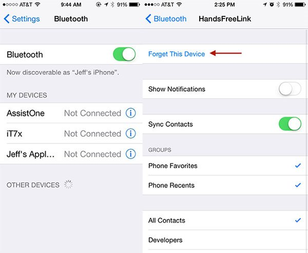 iphone reset Bluetooth
