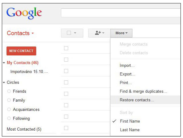 how do i restore my gmail contacts